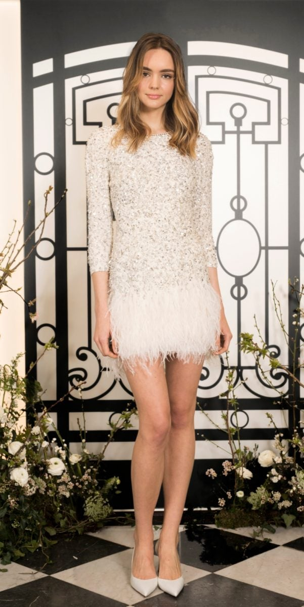 Short sequin dress with feather hem | Margeaux dress by Jenny Packham
