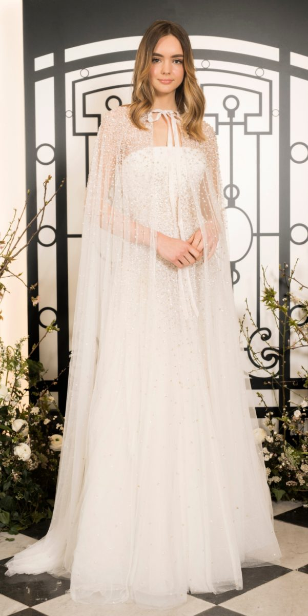 Jenny Packham wedding dress with long sheer cape over strapless beaded bridal gown