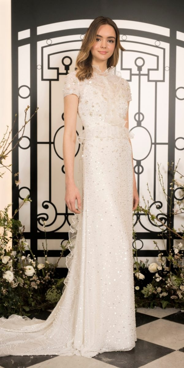 High neck beaded Jenny Packham wedding dress | Nolita bridal gown