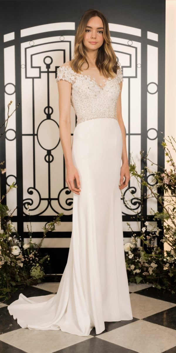 Simone gown by Jenny Packham Cap sleeve beaded bodice sweetheart neckline wedding dress