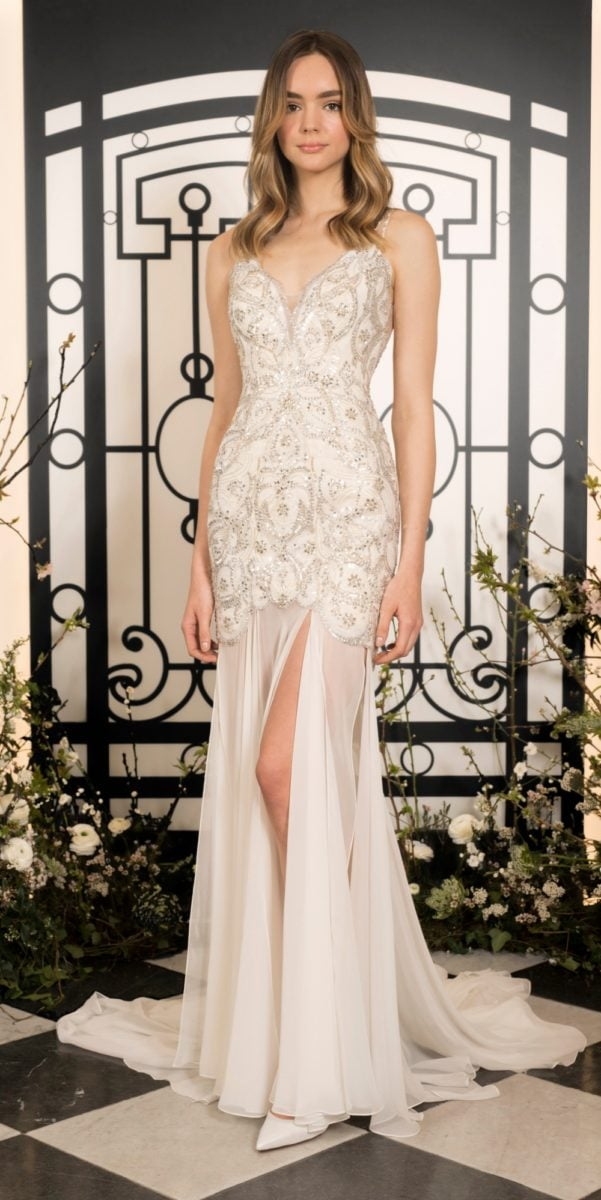 Embellished v neck bridal gown with slit | Vida bridal gown Jenny Packham