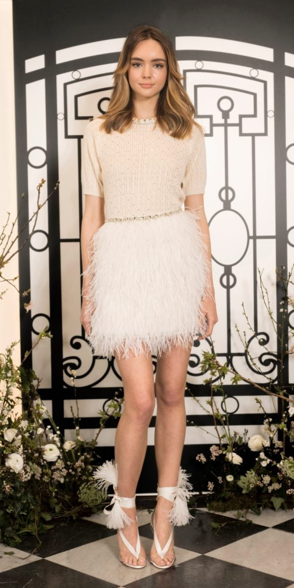 jenny Packham Short mini skirt with short sleeves and feather skirt