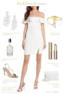 Cute white dress for Bachelorette Party