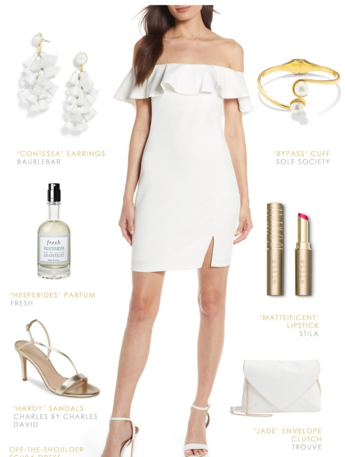 Cute white dress for Bachelorette Party