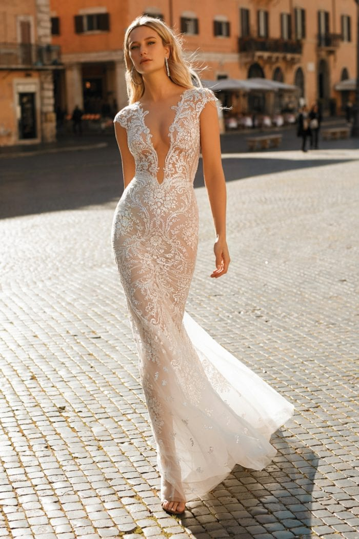 Cap sleeve plunge lace 2020 Berta Privee Wedding Dresses