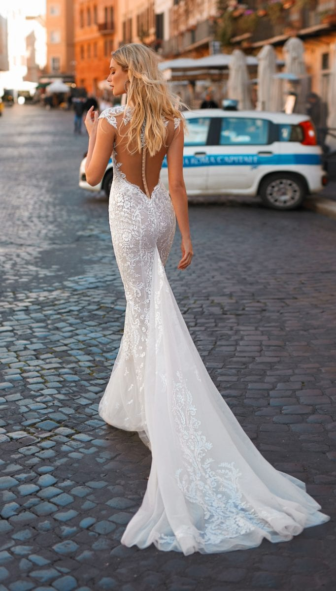 Berta Privee bridal gown with train and buttons up the back