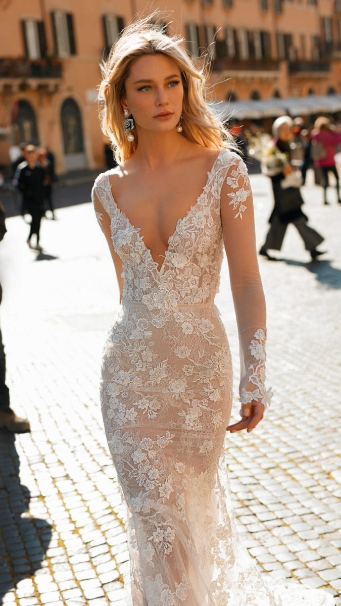 Deep v neck Berta Privee Couture Bridal Gown