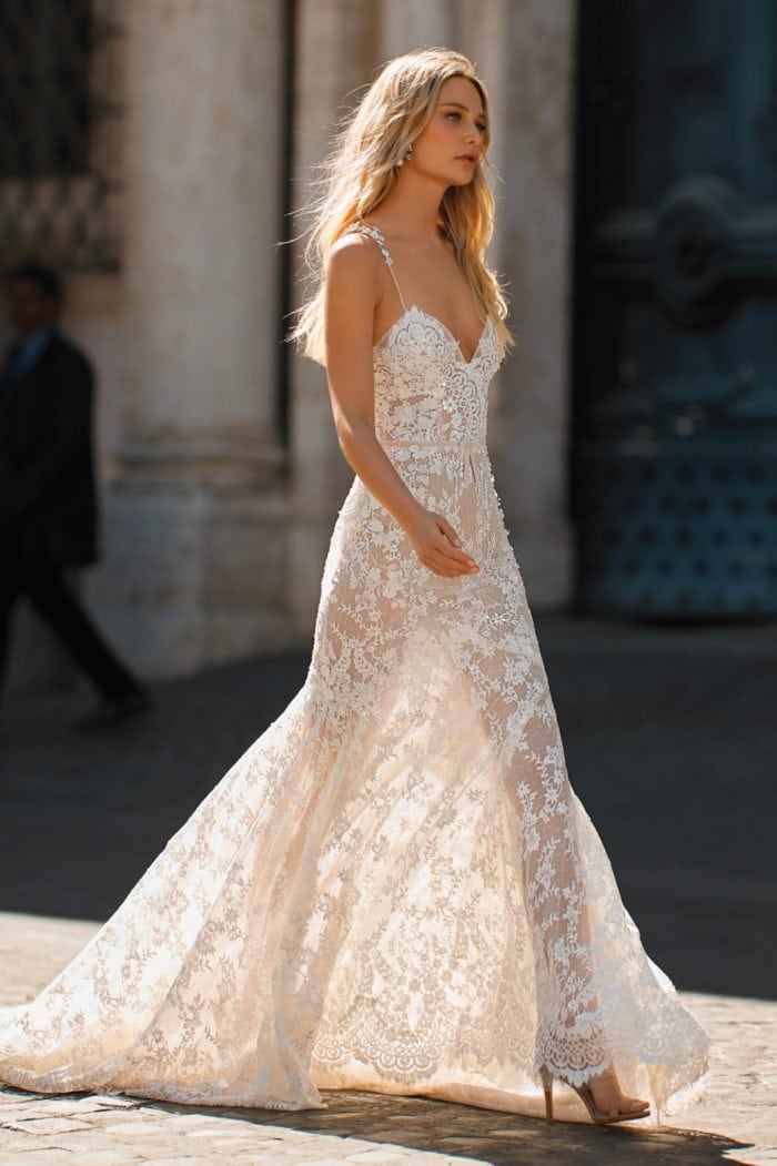 Lace bridal gown from Berta Privee with spaghetti straps