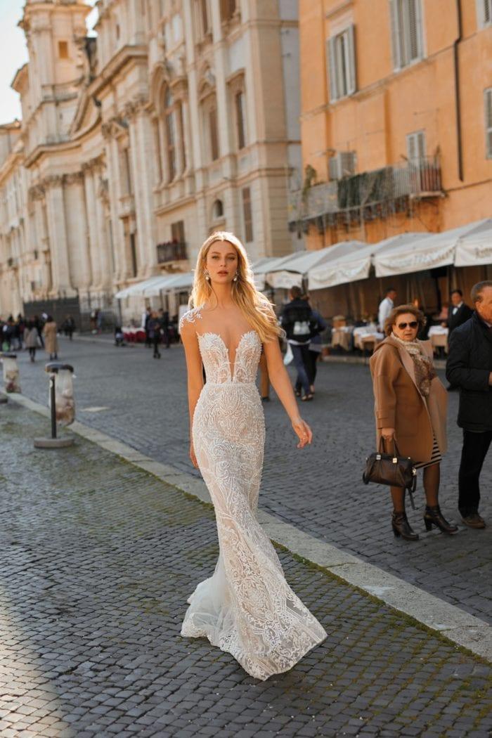 Plunge neck Berta Privee Wedding Dresses 2020