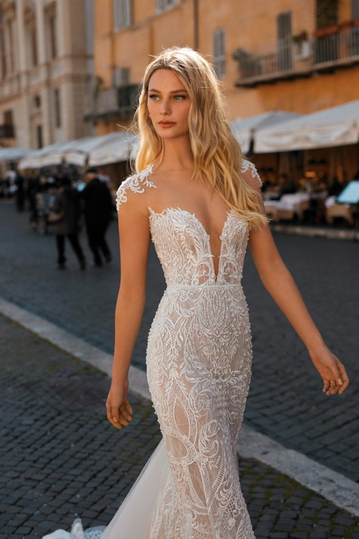 Sheer lace sleeve and plunge neckline Berta Privee Wedding Dresses 2020
