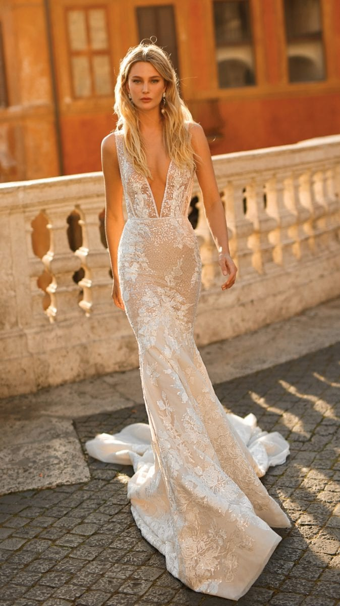Plunge neck Berta Privee Wedding Dress