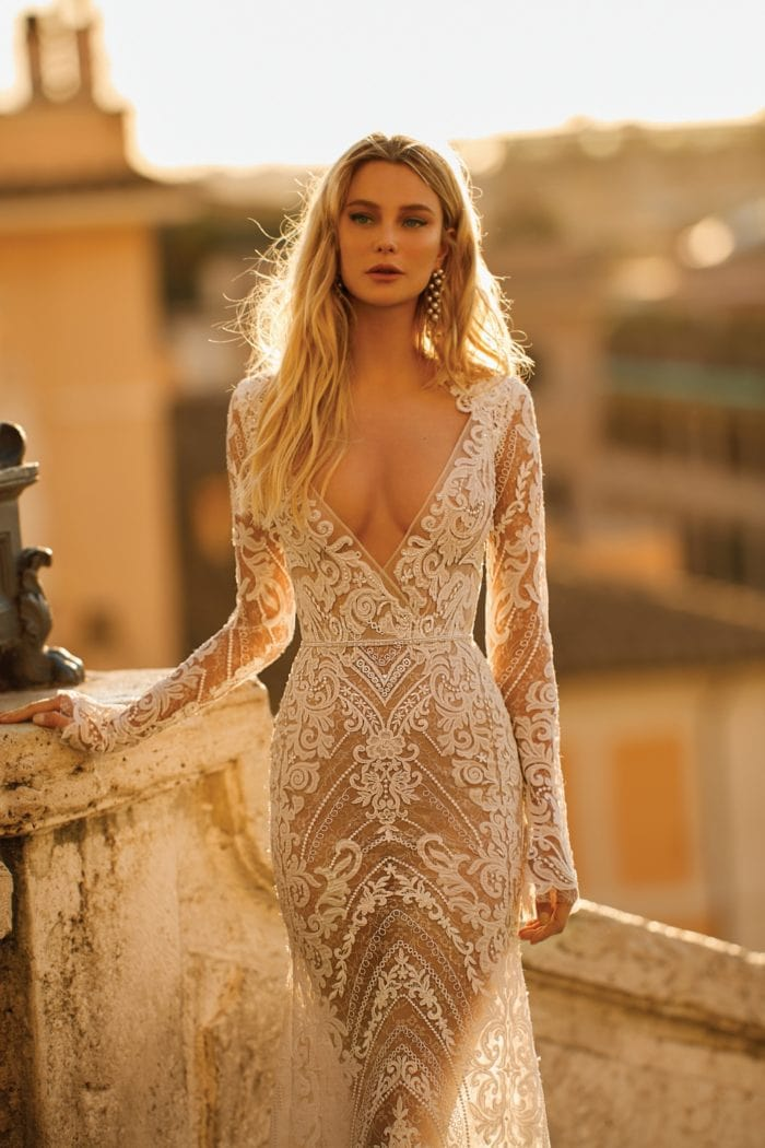 Plunge long sleeve lace Berta Privee No 2 Wedding Dresses