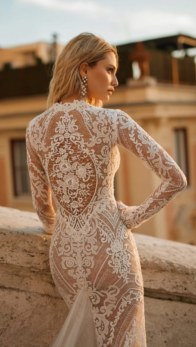 Lace long sleeve bridal gown Berta Privee 2020