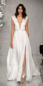 Goddess like bridal gown with plunge neck | Agnetha by Theia 2020
