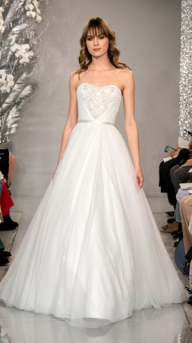 Strapless ball gown wedding dress with bodice detail