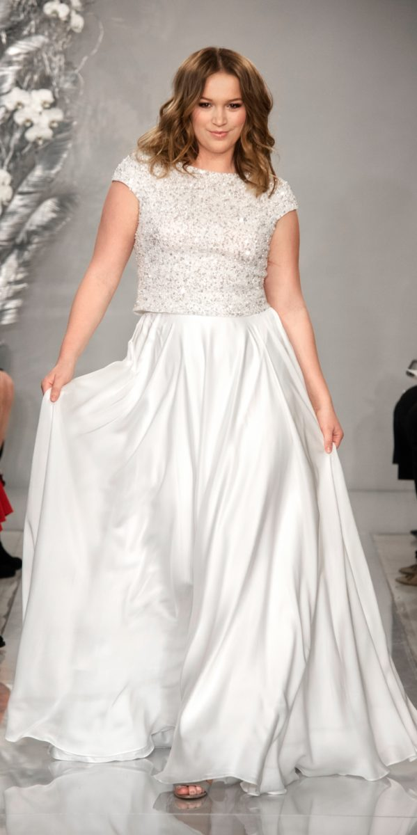 Vanessa bridal separates | Sequin top and ball gown silk skirt wedding dress by Theia