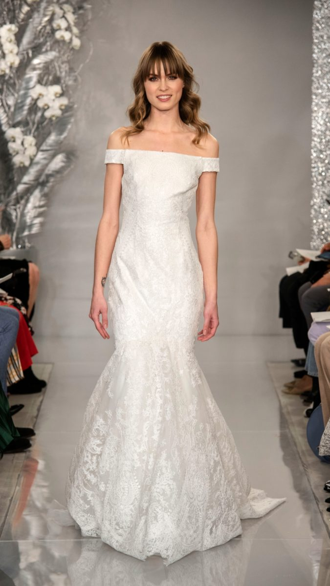 Hannah by Theia | Off the shoulder lace mermaid wedding dress