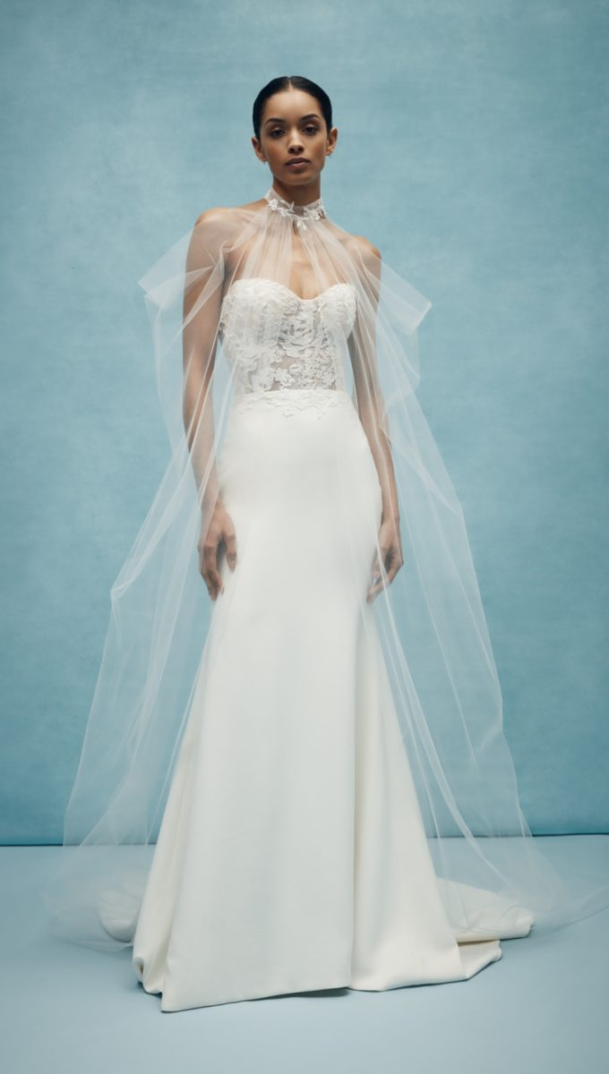 Strapless Anne Barge wedding dress Spring 2020 with sheer cape