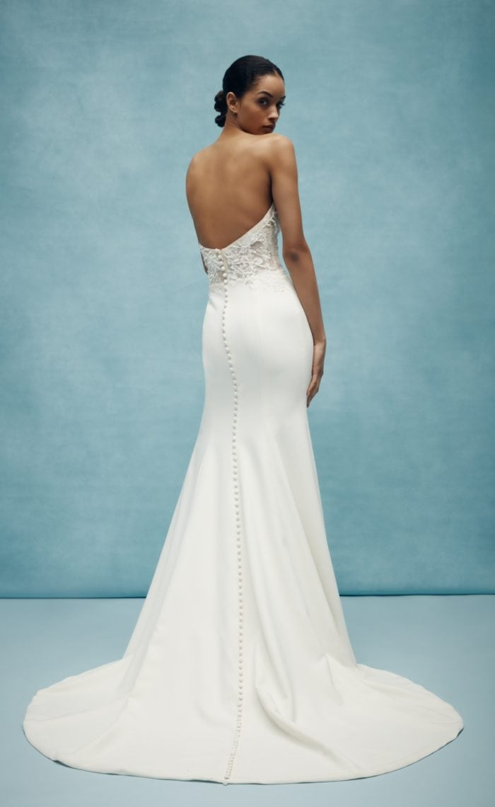 Strapless 2020 wedding dress with lace bodice and buttons up the back