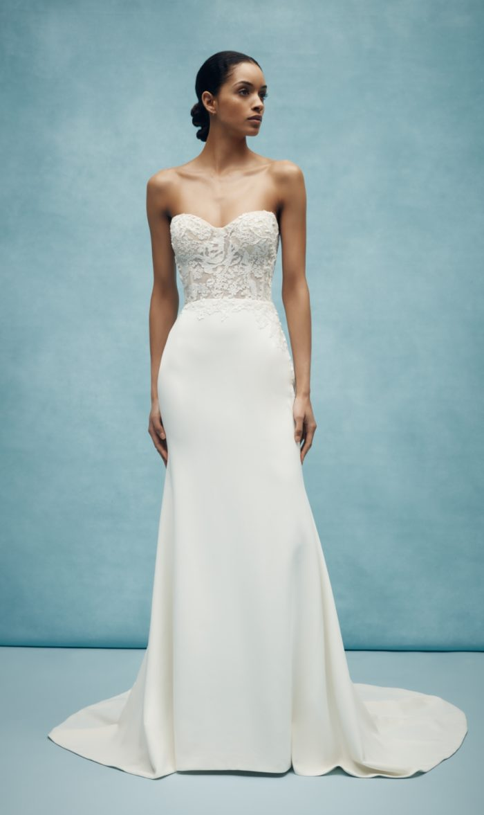 Lace bodice strapless classic wedding dress Anne Barge Spring 2020