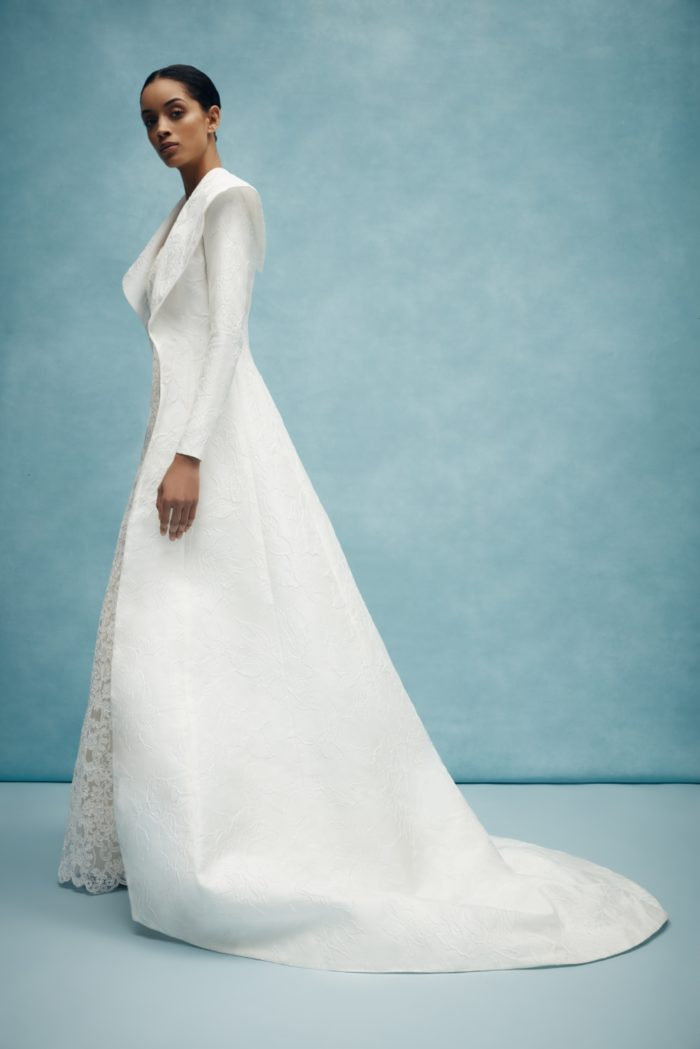 Structured long jacket bridal gown by Anne Barge