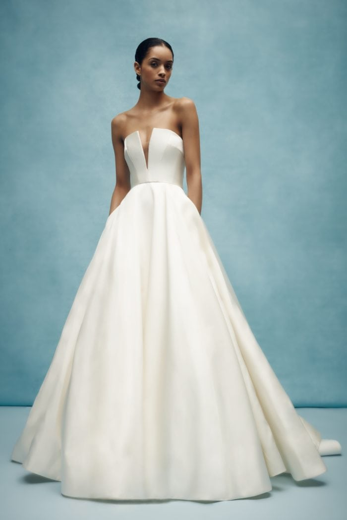 Classic strapless ball gown wedding dress with v neck