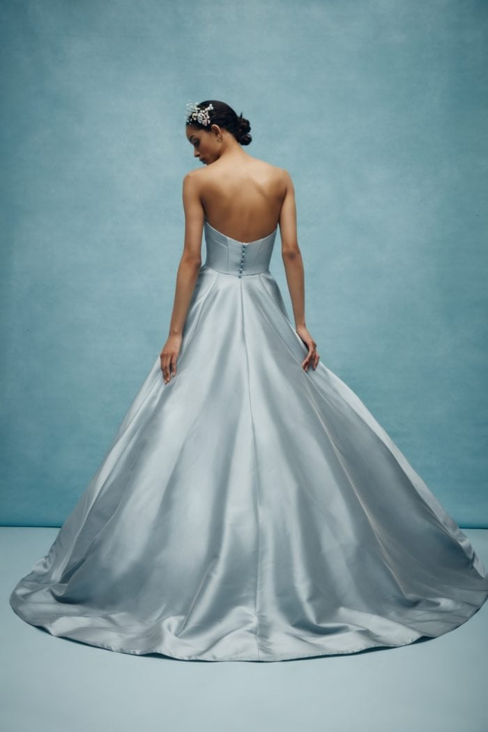 Blue strapless designer wedding dress