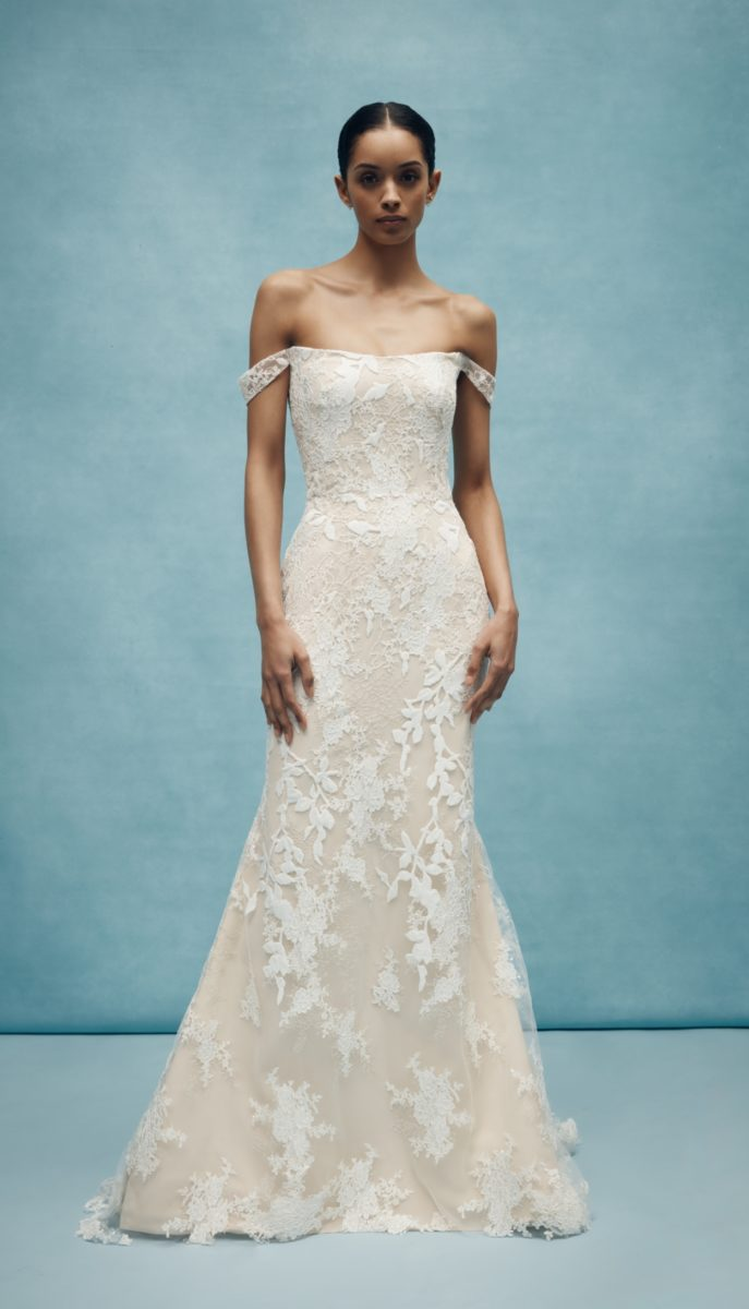Off the shoulder lace bridal gown by Anne Barge Spring 2020 Wedding Dresses