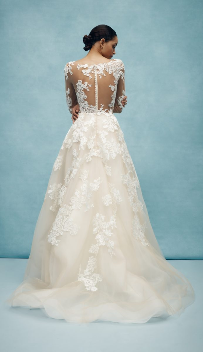 Sheer lace back bridal gown with long sleeves from Anne Barge