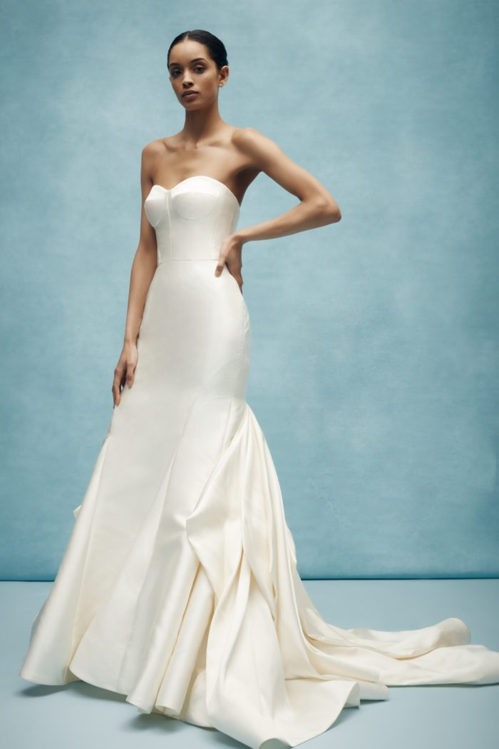 Tailored and modern drop waist strapless silk wedding dress