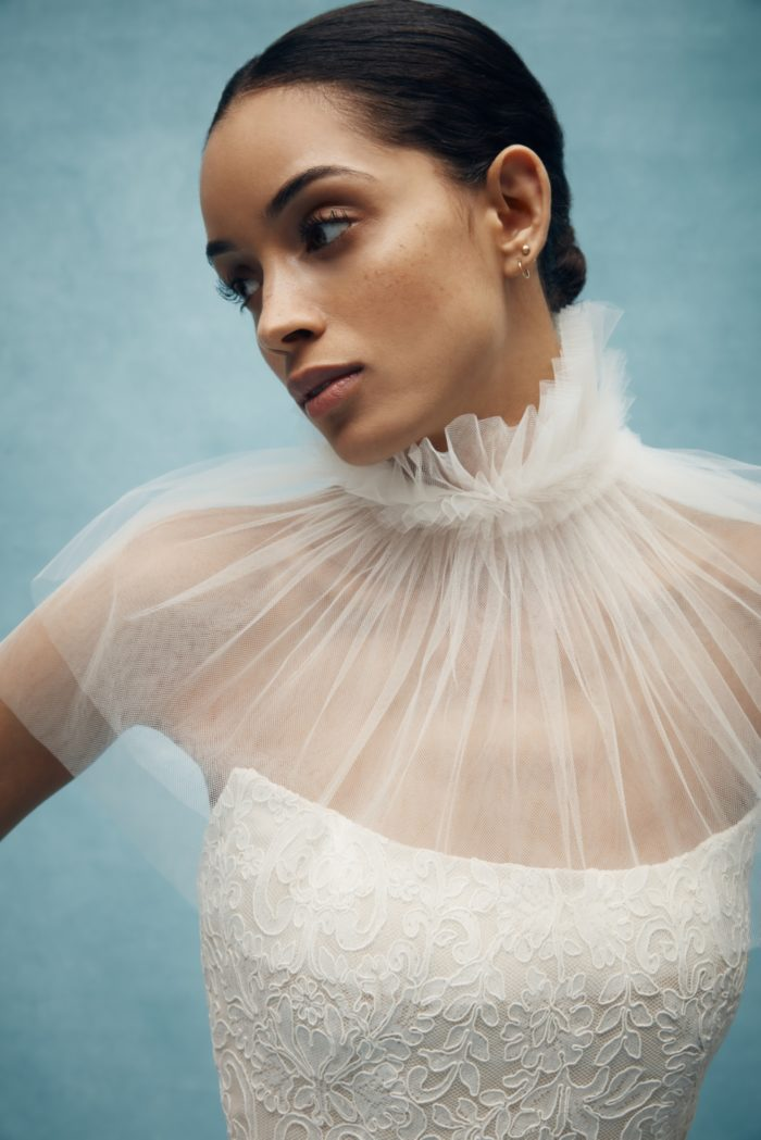 Sheer tulle wedding collar and capelet from Anne Barge