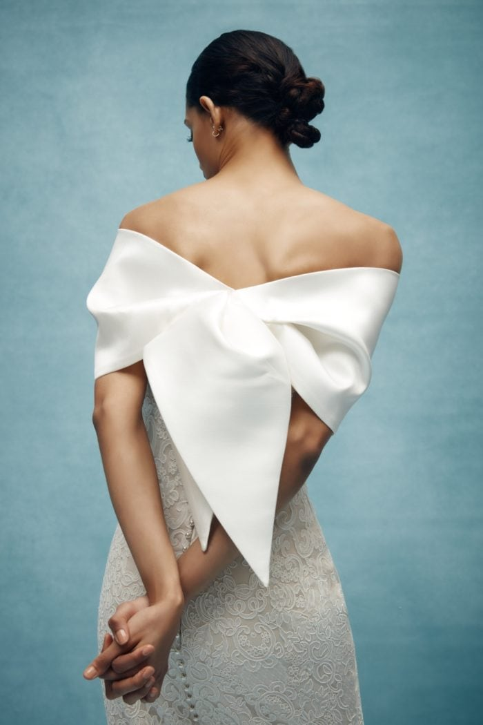 Chic bow back wedding wrap from Anne Barge