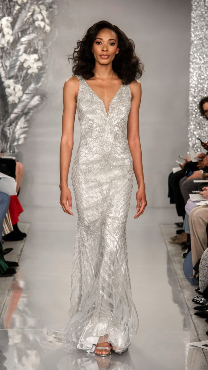 Platinum v neck beaded bridal gown