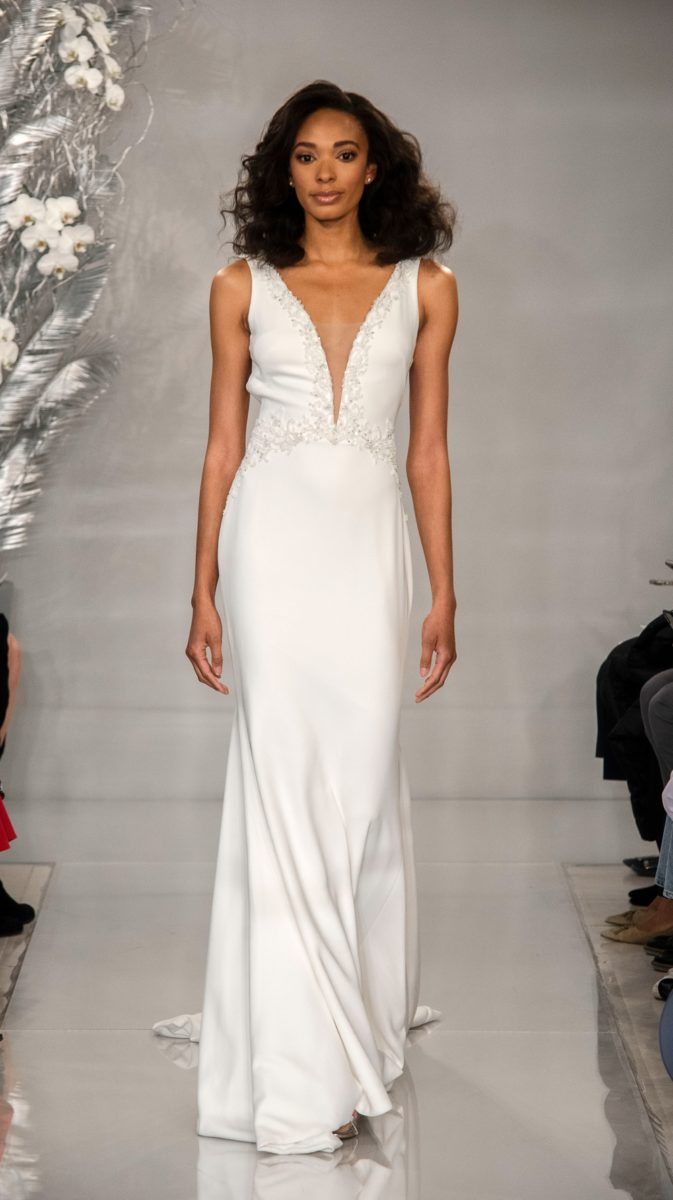 Plunge neckline bridal gown | Adrienne by Theia Bridal