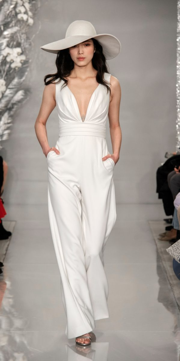 White wedding jumpsuit with v neck and pockets