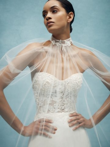 Detail of sheer tulle wedding cape Anne Barge