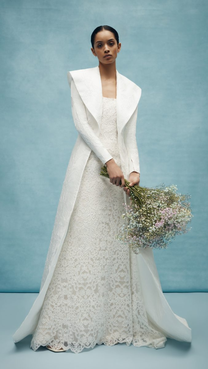 Anne Barge long bridal coat with shawl collar