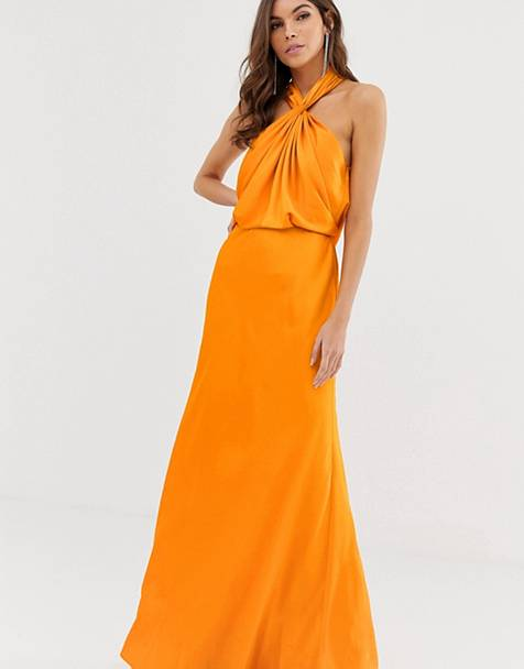 Orange maxi dress for summer
