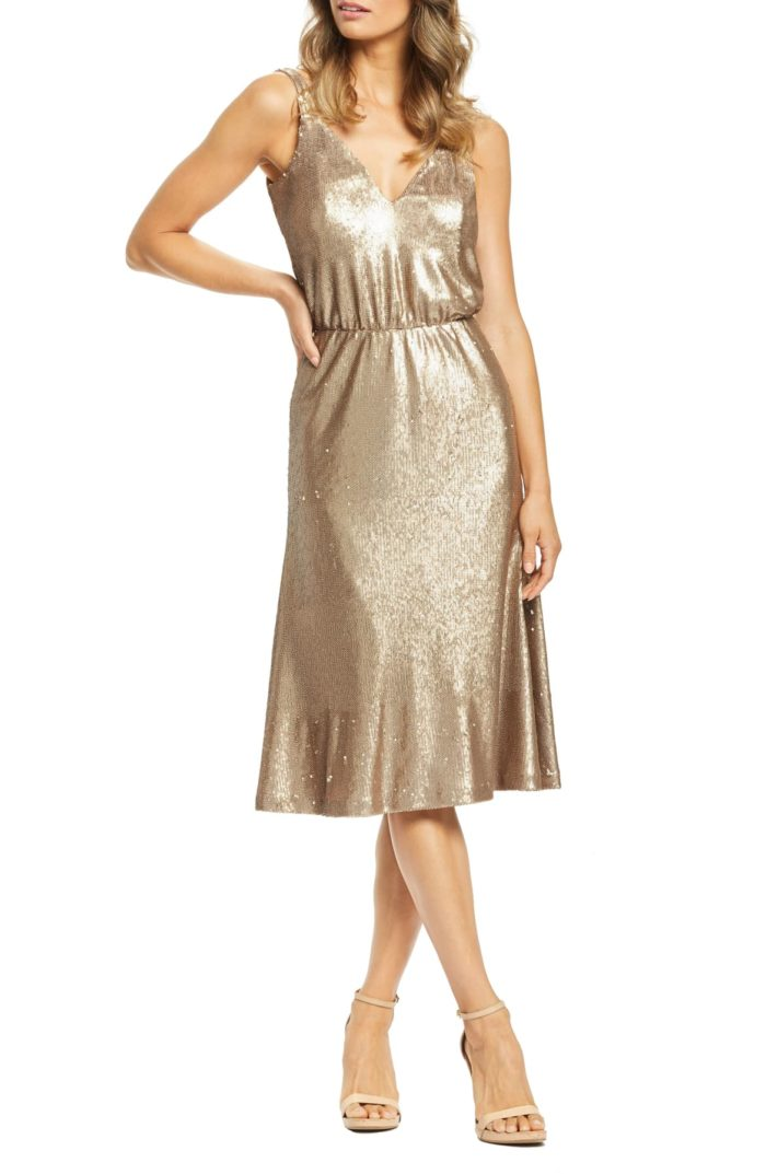 Gold sequin party dress for summer wedding guest