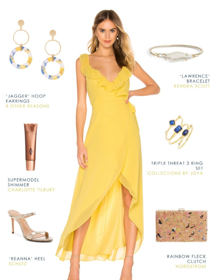 Yellow outfit for a summer 2019 wedding guest
