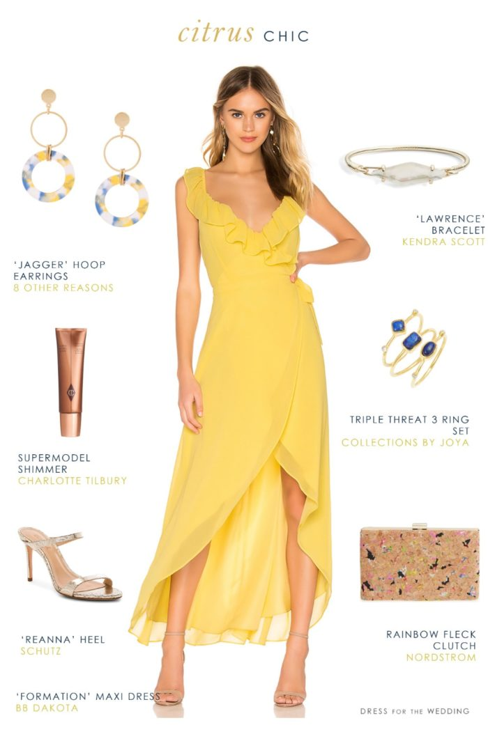Yellow Wrap Maxi Dress To Wear To Spring And Summer Weddings Dress