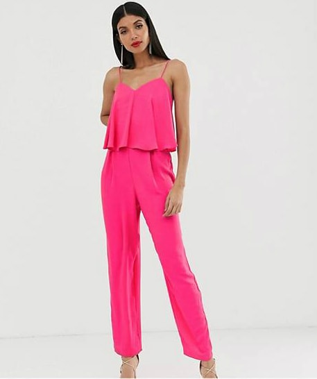 Hot pink wedding guest jumpsuit