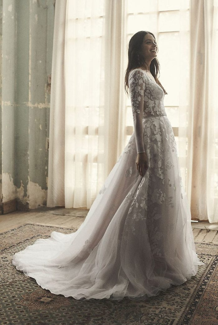 Long sleeve illusion ball gown bridal gown