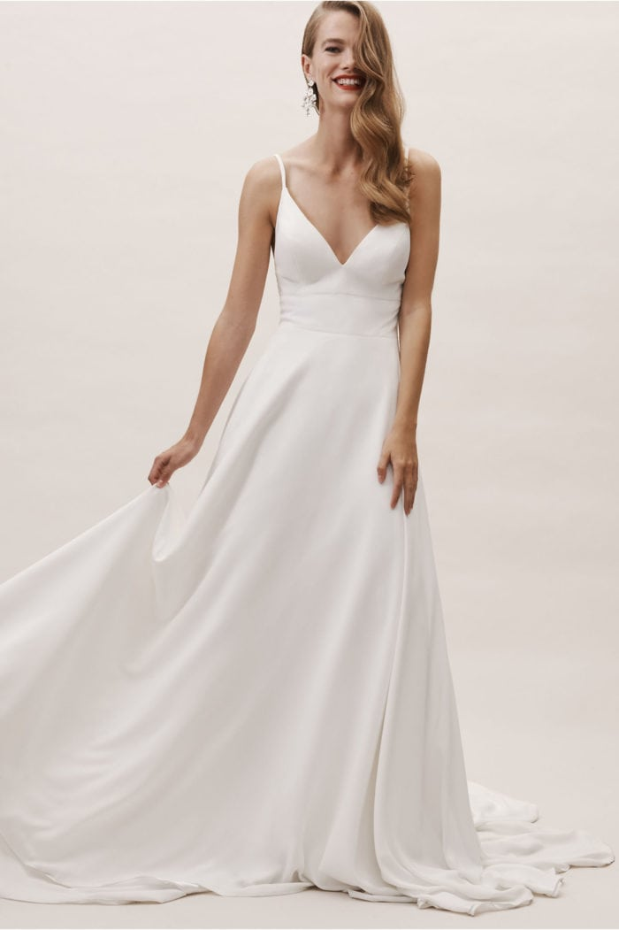 spaghetti strap clean ball gown modern wedding dress