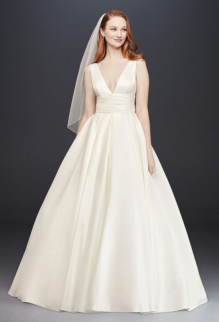 Deep v neck ball gown wedding dress