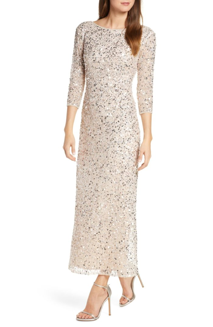 Ankle length sequin dress for mother of the bride with sleeves
