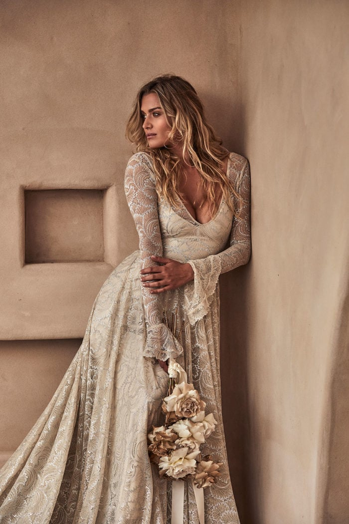 Plunge neck boho long sleeve bridal gown