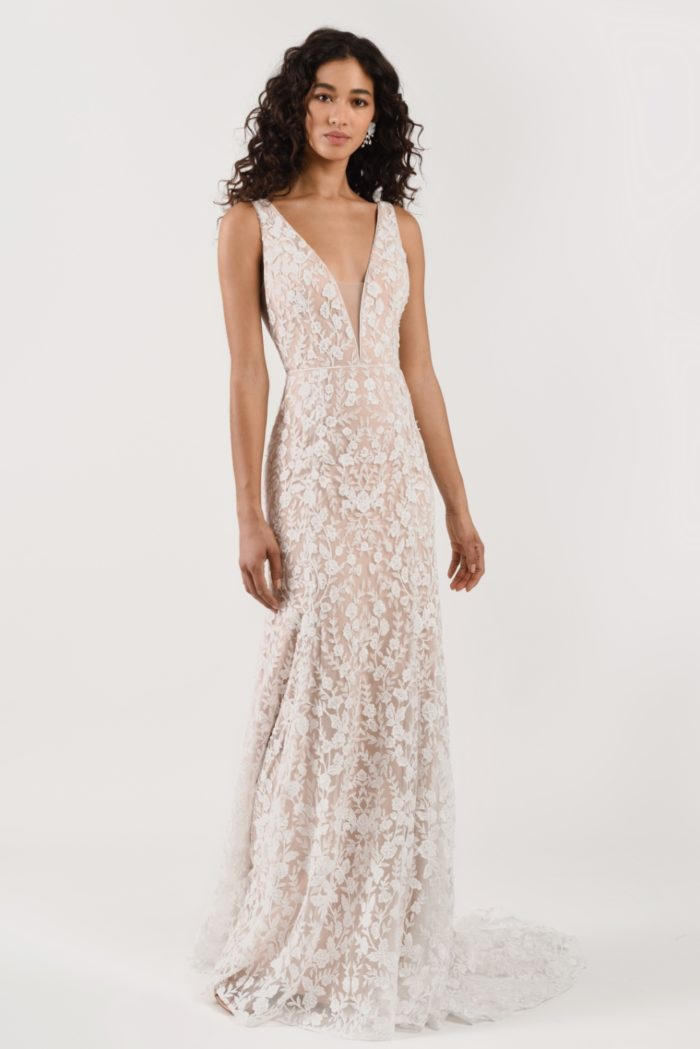 All over lace wedding dress with wide straps and train