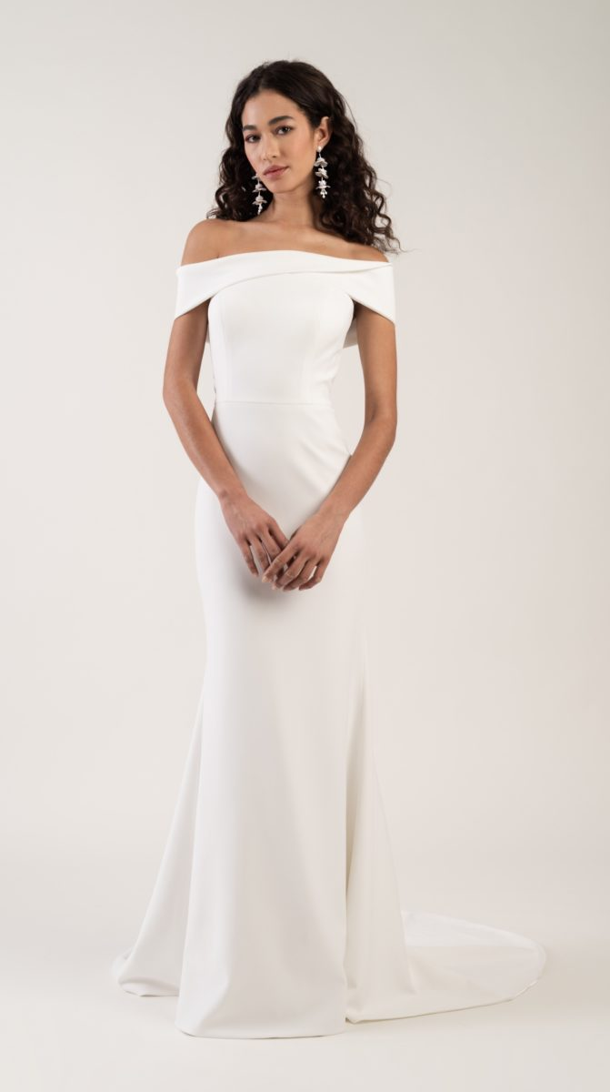 Beautiful ivory off the shoulder wedding dress