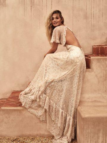 Flutter sleeve open back lace boho wedding dress